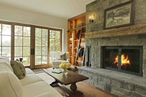 Stowe builder custom construction interior fireplace